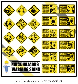 Set of hearing safety signs and symbols for warning and remind workers while work in noisy working environment. Loud noise hazards caution signs.