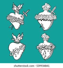 Set Heart of Blessed Virgin Mary tattoo illustration design