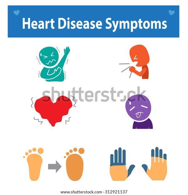 Set Heart Disease Symptoms Icon Medical Stock Vector