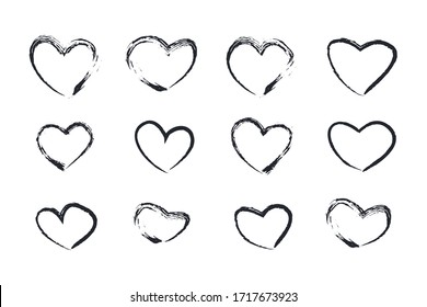 Set heart hand drawn icons isolated on white background. creative wallpaper and Valentine's day. Collection of hearts vector illustration