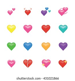Set of heart  icon vector isolated on white background. Emoji vector. Love smile icon set. Emoticon icon web.