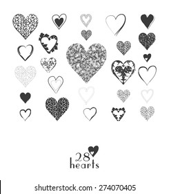 Set of heart icons in grey