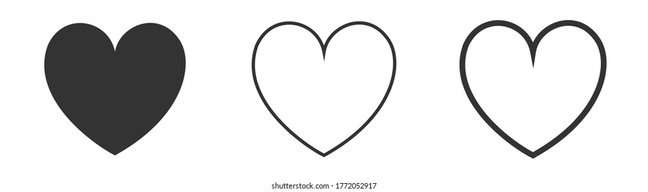 Set of heart icons, love concept isolated on white