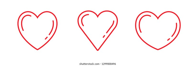 Set of heart icons, love symbol vector illustrations