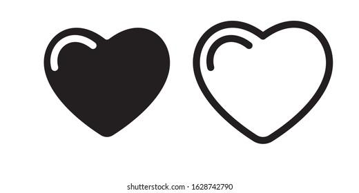 Set of heart love symbol design concept element vector. Valentine hearth design illustrator element for valentine day, gift, wedding, icon.