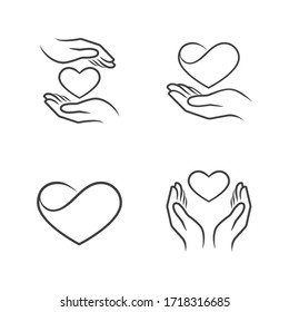 Set of Heart Outline Icons. Main topics: Heart, Caring, Love. White background. Perfect for use in: website, promotional materials, illustrations, and even as a logo.