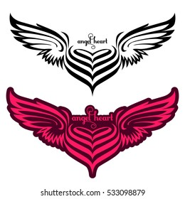 Set of heart with pink angel wings. Angelic love. Vector illustration. Icon hearts with wings on a white background. Elements of hearts with wings for web design, Tattoo and registration cards.