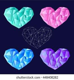 Set heart polygonal.