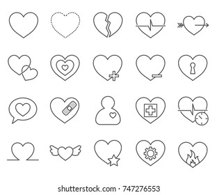 Set of heart Related Vector Line Icons.Includes such Icons as  love, like, Cupid,  lovers, interface, pulse,beating, heart lock and more.