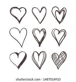 Set Heart Shape Hand Drawn Icon Vector Logo Template
