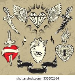 Set of Heart shaped tattoo elements