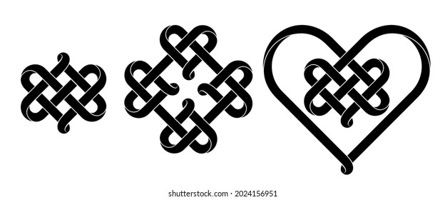 Set of heart signs made of intertwined mobius stripes as celtic knots. Stylized symbols of endless love for tattoo design. Vector illustration isolated on a white background.