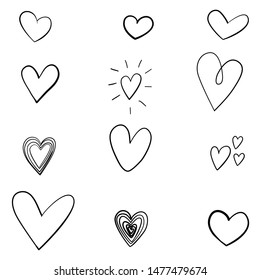 Set of heart sketches isolated on white background. Vector illustration.