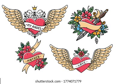 Set of Heart Tattoos in Old school style. Heart with ribbon, flowers and word mother. Tattoo flying heart with crown and phrase MY ANGEL. Heart with dagger. Old school slyle.Retro tattoo.