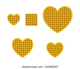 Set of Heart Waffle in flat style, vector