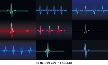 Set of heartbeat lines, cardiogram