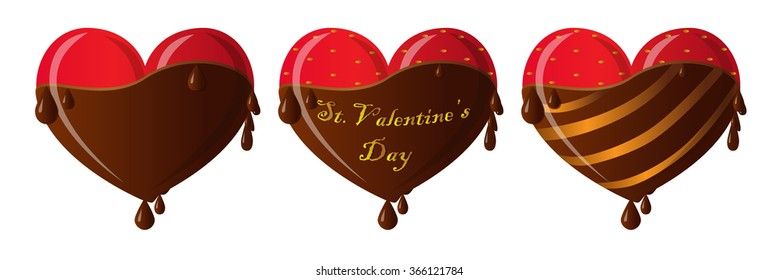 Set of hearts with chocolate and strawberry for St. Valentine's day. Candies and sweets heart. Heart. Icon. Vector