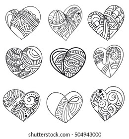 Set of hearts for coloring. Vector