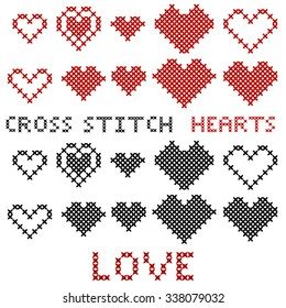 Set of hearts. Cross-stitch. Red and black silhouette. Items for love cards. Valentine's Day. Vector illustration.