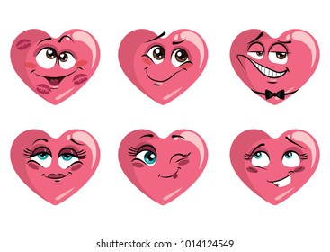 Set of hearts with emotions. Collection of hearts on the day of the holy valentine. Love smilies. Cartoon love symbols. Vector illustration.