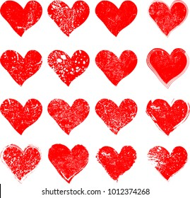 Set of Hearts . Grunge stamps collection.love Shapes for your design.Distressed symbols. Textured Valentine's Day signs.Vector illustration.