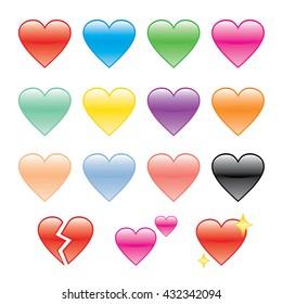 Set of Hearts and Heartbroken Vector Illustration