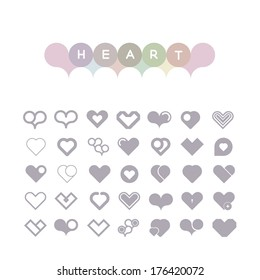 set of hearts of icons in light tones