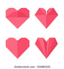 Set of hearts made of paper in origami style. Vector illustration for your design