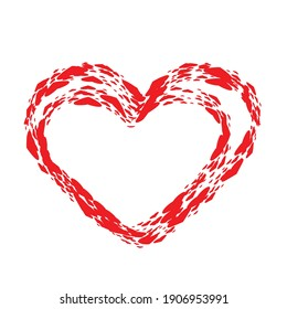 Set of Hearts . One line Shapes for your design.  Valentine's Day signs. Vector illustration.