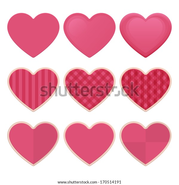 set of hearts with patterns and no pattern on a white background