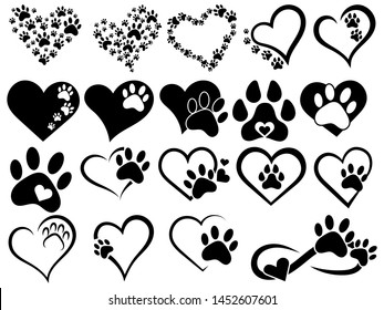 Set of hearts with the paws of dogs and cats. Collection of black and white logos with footprints of pets. Vector illustration of hearts symbolizing love for animals. Tattoo.