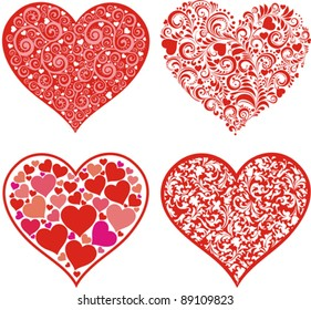 Set of hearts. Red valentine hearts in floral style isolated on White background. Vector illustration
