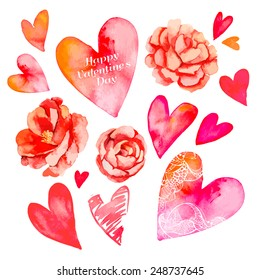 Set of hearts and roses. Valentine's Day. Watercolor heart. Vector. Camellia.