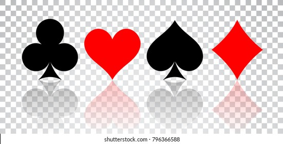 Set of hearts, spades, clubs and diamonds with reflection on transparent background.