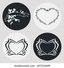Set of heart-shaped silhouette frames. Vector clip art.