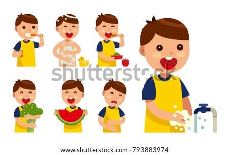 set heathy kid flat vector illustration stock vector royalty free