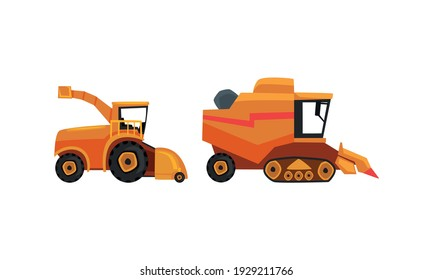 Set of Heavy Agricultural Machinery, Combine and Harvester for Growing and Harvesting Crops Flat Vector Illustration