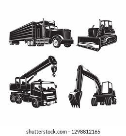 Set of heavy building machines, Excavator and bulldozer, truck and auto crane, monochrome  icons of machines isolated on white background, vector
