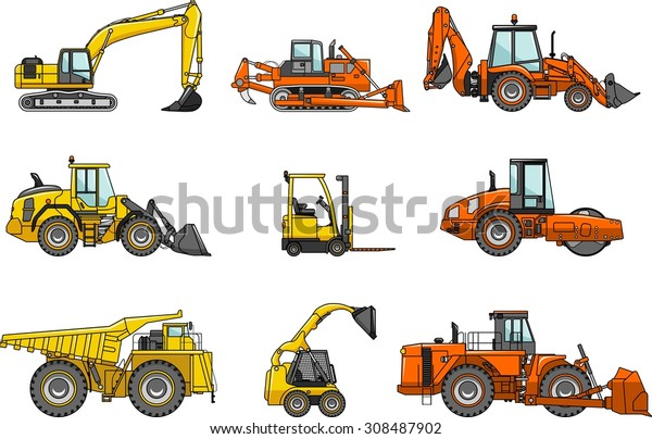 Set Heavy Construction Machines Icons Vector Stock Vector Royalty