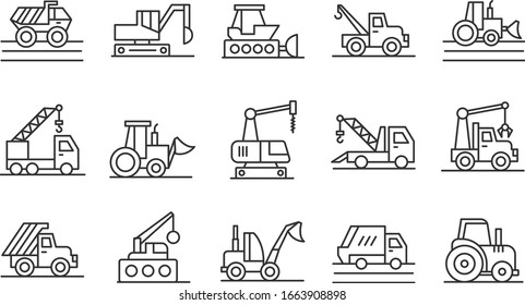 Set of heavy equipment construction machines icons. Vector illustration. Silhouette illustration of heavy equipment and machinery.