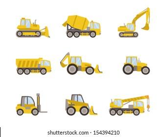 set of heavy equipment icons