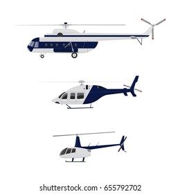 Set of helicopters. Helicopter icon isolated. Vector flat illustration