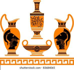 set of hellenic vases. stencils. vector illustration