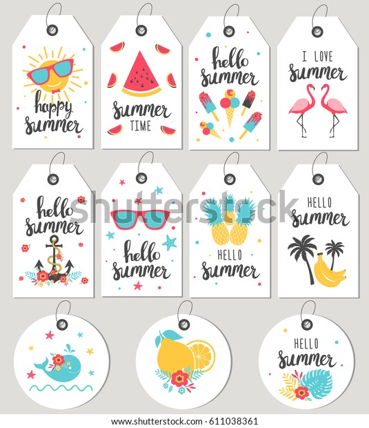 Set Hello Summer Gift Tags Cards Stock Vector Royalty Free 611038361