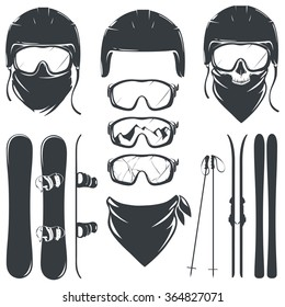 Set of helmet with goggles and skiing with snowboard. vector