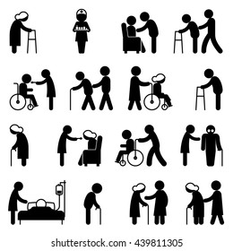 Set of help icons disability people nursing and disabled in wheelchair health care. Vector illustration