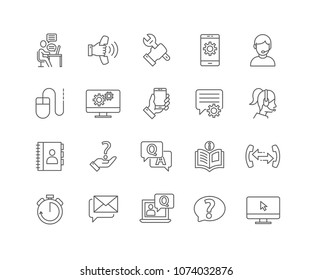 Set of Help and Support outline icons isolated on white background.