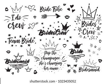 Set of hen bridal and bachelorette party vector logo, slogan, emblem, text. Black card simple t-shirt desgn and  illustration on white background in hand drawn hipster style.