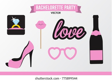 Set of Hen Party banners, props vector elements. Pink black color heart and sign love, champagne bottle, shoe, lips on stick, ring.