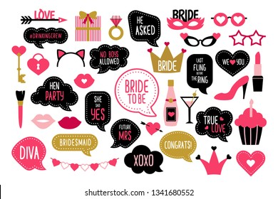 Set of hen party photo booth props. Wedding and bachelorette celebration vector elements. Bridal shower stickers. Quotes team bride, bridesmaid, future mrs, true love